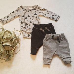 Baby Boys Geometric Trees onsie and pant set